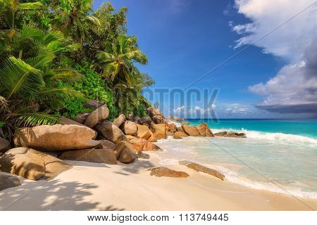beautiful beach Anse Lazio, Praslin on the Seychelles