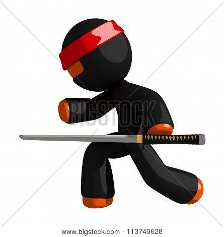 Orange Man Ninja Warrior Stealth With Sword