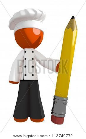 Orange Man Chef Holding Large Pencil