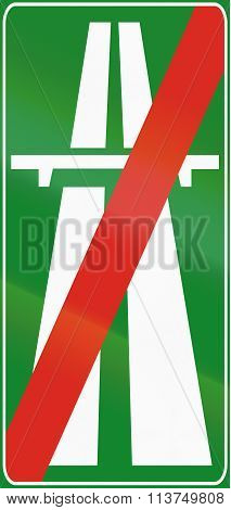 Road Sign Used In Italy - End Motorway