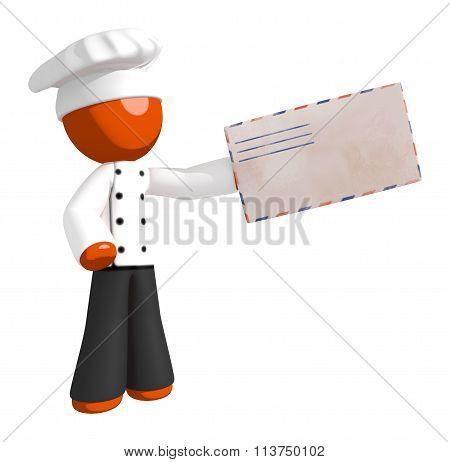 Orange Man Chef Delivering Mail