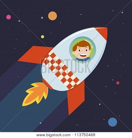 Boy In A Rocket Journey To Space