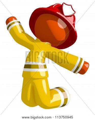 Orange Man Firefighter Jumping For Joy Or Triumph
