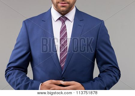 Cheerful businessman is ready for a conversation