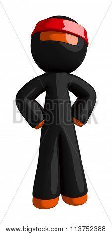 Orange Man Ninja Warrior Assessing Opponent