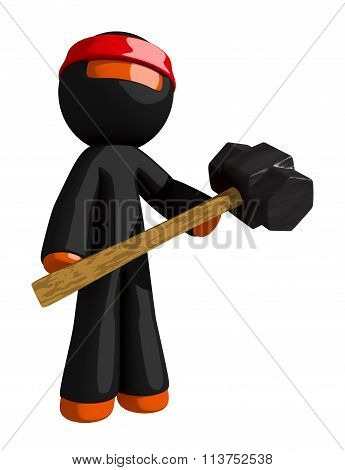 Orange Man Ninja Warrior Holding Giant Sledge Hammer