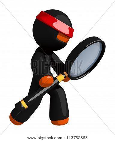 Orange Man Ninja Warrior With Giant Magnifying Glass