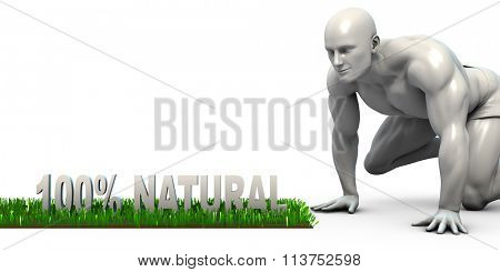 100% Natural Concept with Man Looking Closely to Verify