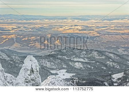Panoramic View On Top Of Kasprowy Wierch In Zakopane In Tatra Mounts In Winter