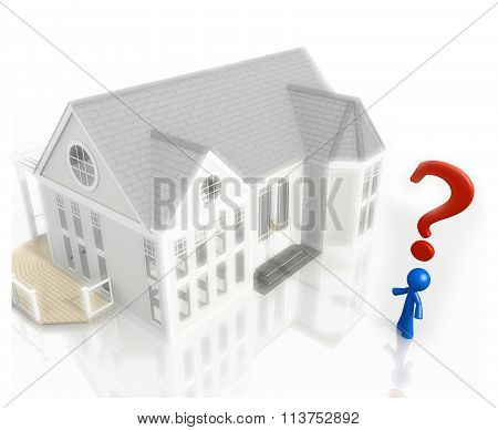 3D Question Mark And Blue Man House Purchase Real Estate Concept