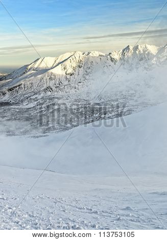 Snow Storm In Kasprowy Wierch In Zakopane In Tatra Mounts In Winter
