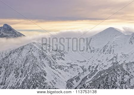 Sun And Clouds At The Top Of Kasprowy Wierch Of Zakopane In Winter