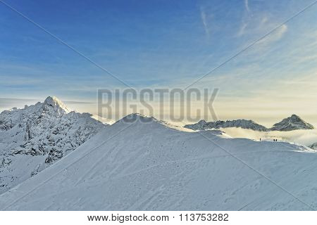 Sun And Fog In Kasprowy Wierch Of Zakopane In Tatra Mounts In Winter