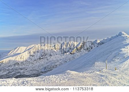 Sunny Weather In Kasprowy Wierch Of Zakopane In Tatra Mounts In Winter