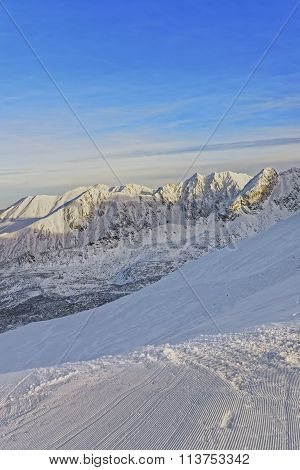 Sunny Weather In The Kasprowy Wierch Of Zakopane In Tatra Mounts In Winter