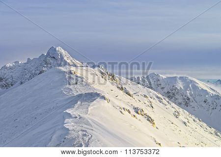 Sunny Weather On Kasprowy Wierch Of Zakopane In Tatra Mounts In Winter