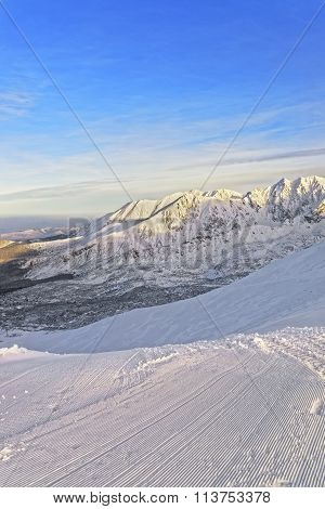 Sunny Weather On The Kasprowy Wierch In Zakopane In Tatra Mounts In Winter