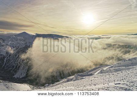 Sunset At The Kasprowy Wierch Peak In Zakopane In Tatras In Winter