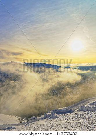 Sunset In The Kasprowy Wierch Peak Of Zakopane In Tatras In Winter