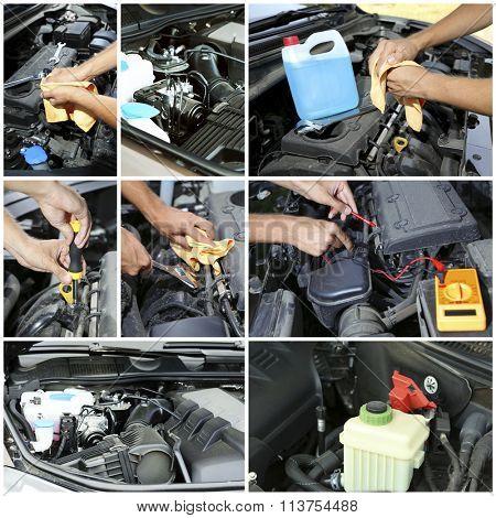 Repairing car in details, collage