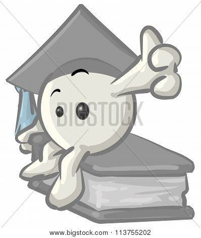Clipart Illustration Of A White Konkee Character Graduate In A Cap, Sitting On A Book