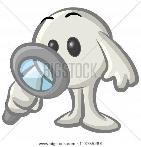 Clipart Illustration Of A White Konkee Character Inspecting With A Magnifying Glass