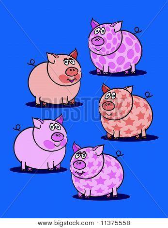 Pink Piggy Against Blue