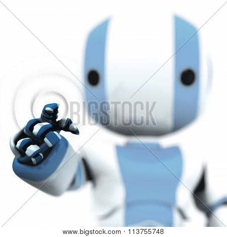 Blue White Robot Pointing Transparent Plane