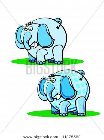Blue Elephants On The Grass