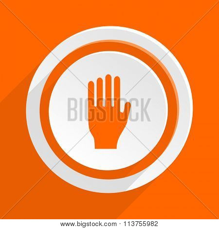 stop orange flat design modern icon for web and mobile app