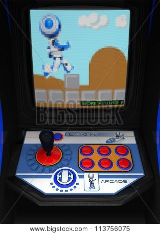 Retro Arcade Game Blue Robot