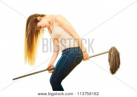 Funny Cleaning Woman With Mop Flying