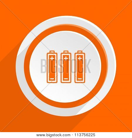battery orange flat design modern icon for web and mobile app