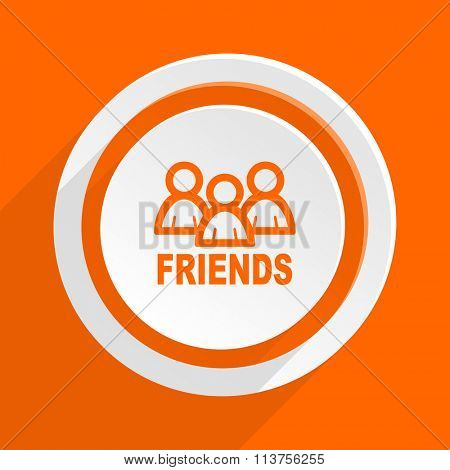 friends orange flat design modern icon for web and mobile app