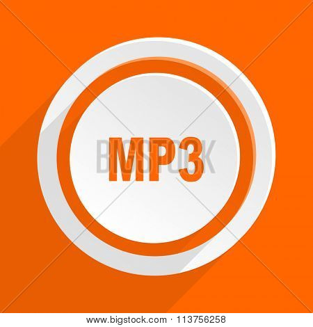 mp3 orange flat design modern icon for web and mobile app