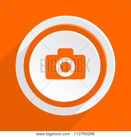 camera orange flat design modern icon for web and mobile app