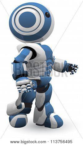 Blue White Robot Walking Vector Derivative