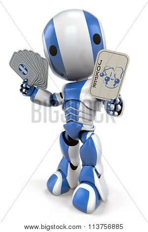 Blue Robot Holding Joker Card
