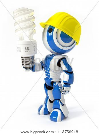 Robot With Hard Hat And Energy Saver Bulb