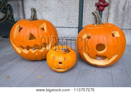 Jack O-lanterns By The Door, During Halloween Holiday.
