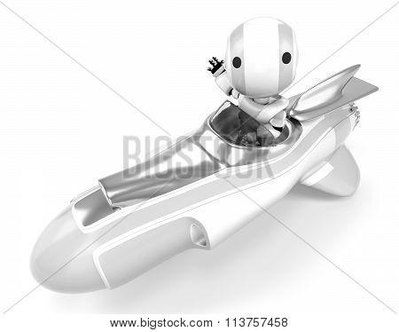 Robot Waving At Viewer From Rocket