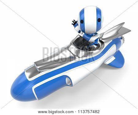 Robot In Rocket Vehicle Waving.