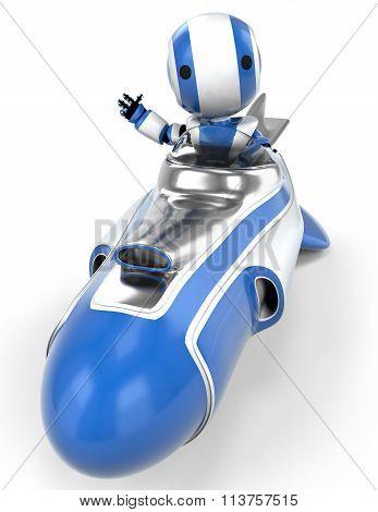 Robot In Rocket Waving.