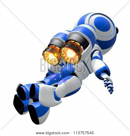 Robot Robot Rocketeer Flying With Burning Jets