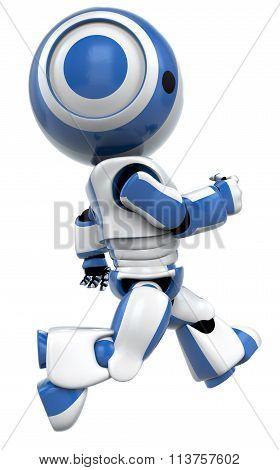 Blue Robot Running Fast