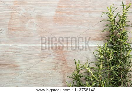 Bunch Of Fresh Of Garden Rosemary On Wooden Table, Rustic Style, Fresh Organic Herbs. Top View With