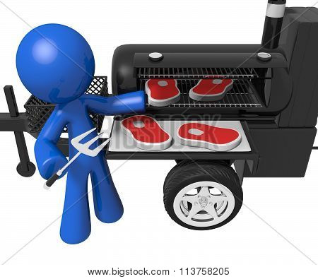 Bbq Smoker Mobile Grill Man Preparing Steaks