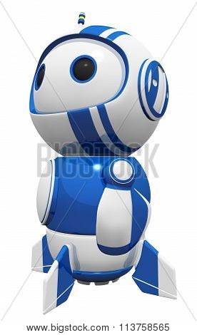 3D Cute Blue Robot Hero Stance Gazing In Wonder