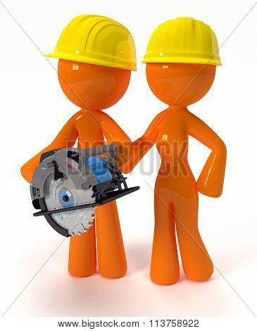 3D Orange Man And Woman With Circular Saw Plus Hard Hats