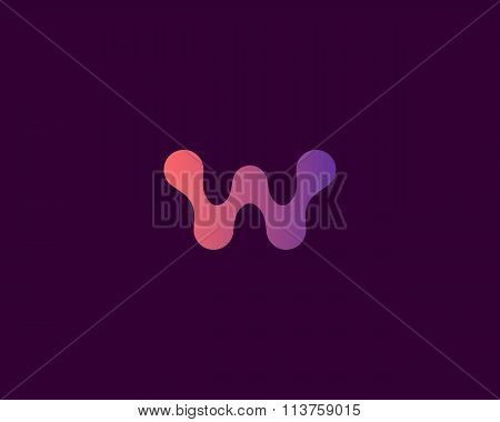 Abstract letter W logo icon vector design. Universal colorful biotechnology molecule atom dna chip s